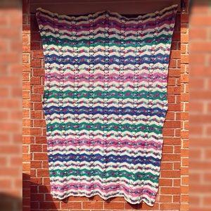 Vintage Earth Tone Large Afghan Blanket 71x46